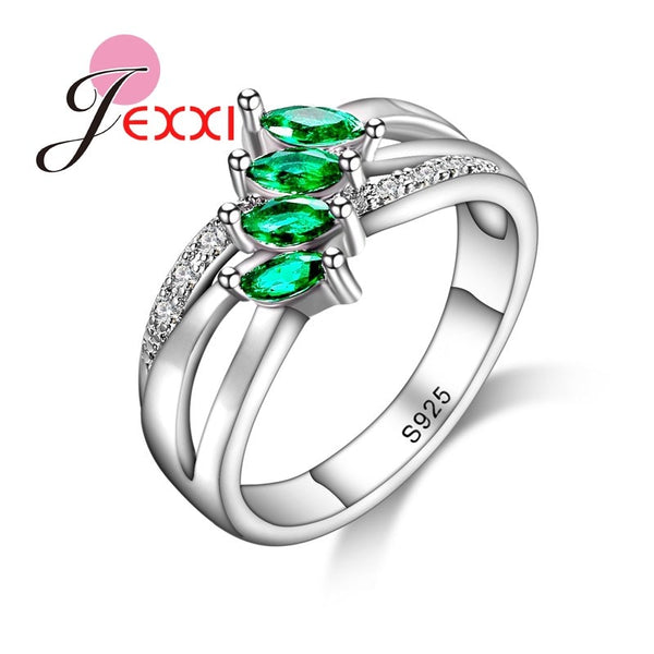 Women Girl Best Gifts 925 Sterling Silver Ring for Women Green Stone Branch Leaf Rings Wedding Accessories Bijoux