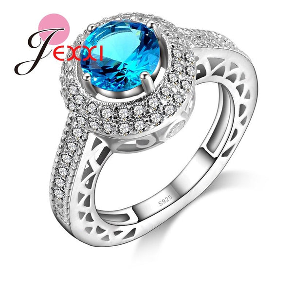 Trendy Round Blue Crystal Shiny Rhinestone Pave Women Wedding Engagement Rings 925 Sterling Silver Finger Jewelry