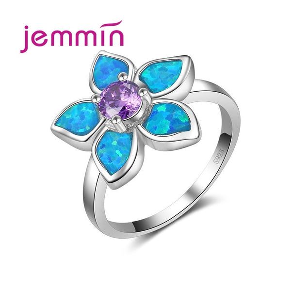 Purple and Blue Fire Opal Flower Ring Fashion Women Lady Best Gift Authentic 925 Sterling Silver Jewelry Anillos