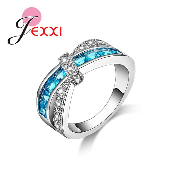 Top Quality Good Sell New Arrival Romantic Femme Engagement Ring 925 Sterling Silver Wedding Blue Rings For Women