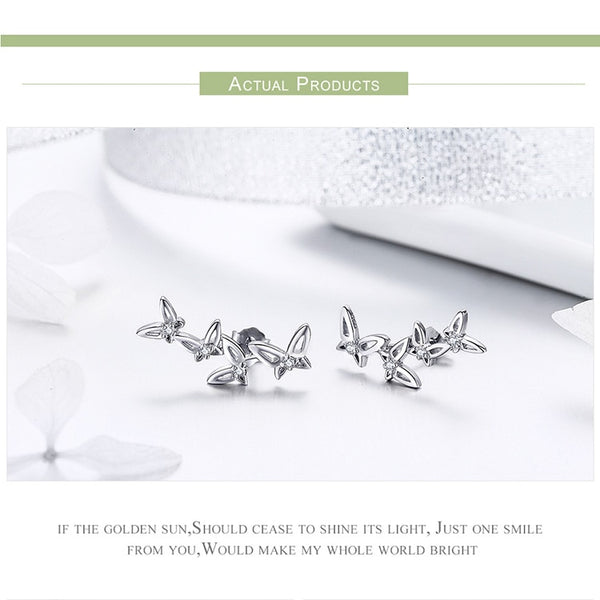 925 Sterling Silver Simple Dancing Butterfly Stud Earrings for Women Party Jewelry Girlfriend Gift BSE056