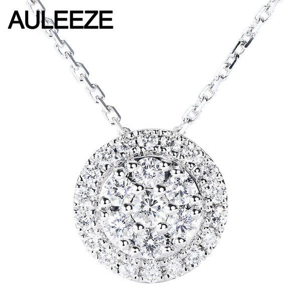 AULEEZE 18K White Gold Real Diamond Necklace Circle Cluster Setting 0.47CTTW Diamond Pendant Ladies Clavicle Chain