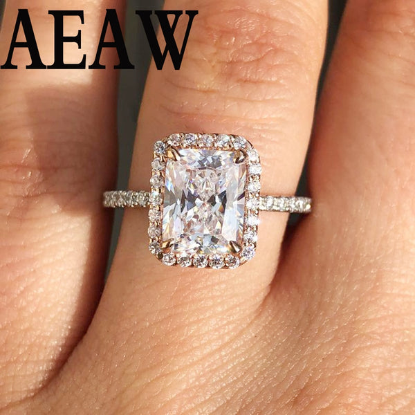 Solid 14k White Gold 2ct 4ct DF Moissanite Radiant Cut Moissanite Halo Stone Engagement Ring For Women