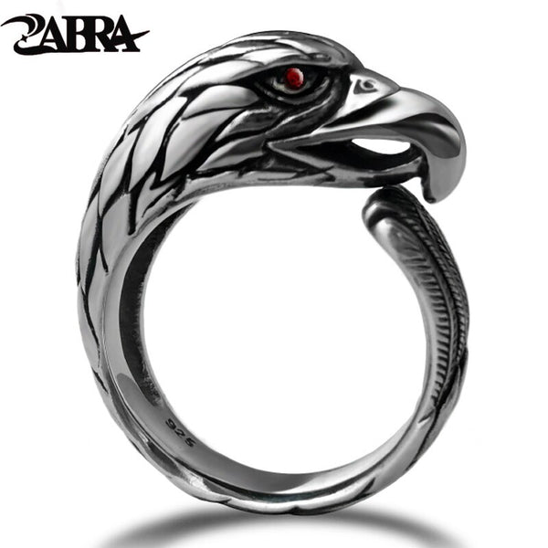 ZABRA Solid 925 Silver Vintage Black Ring Man Adjustable Punk Rock Biker Men Rings Zirconia Stone Red Eye Gothic Animal Ring