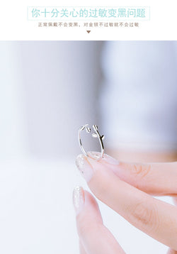 Wholesale European Fashion Woman Girl Party Wedding Gift Silver Leaves Open 925 Sterling Silver Ring RR273