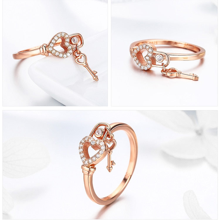 Romantic New 925 Sterling Silver Heartlock Ring Heart & Love Key Women Adjustable Rings Luxury Jewelry Anel SCR501