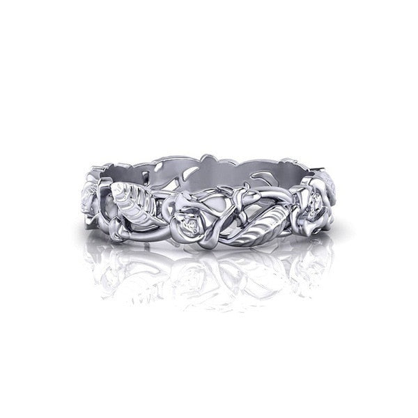 Wedding Gift White Hollow Flower Leaves  925 Sterling Silver Ring RR175