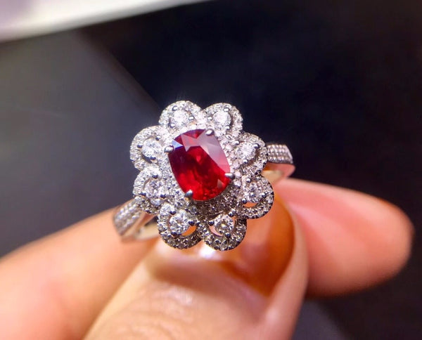 Fine Jewelry Real 18K White Gold 100% Natural GRS1.02ct Red Ruby Gemstone 18k Gold Diamonds Stone Female Ring for Women Rings