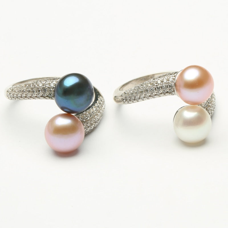 Natural Freshwater Pearl Jewelry 925 Sterling Silver TWO PEARL Rings For Women High Guality Zircon Wedding Gift