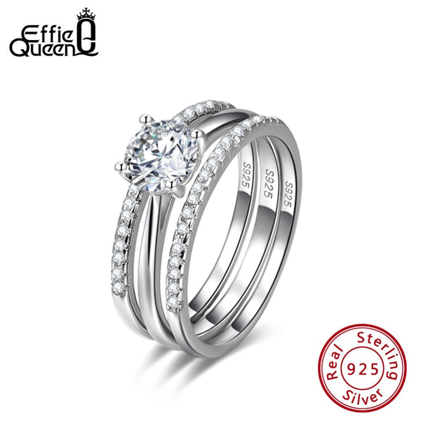 Effie Queen Sterling Silver 925 Women Finger Rings Bridal Sets 3 Layers With AAA Zircon Luxury Wedding Band Party Jewelry BR134