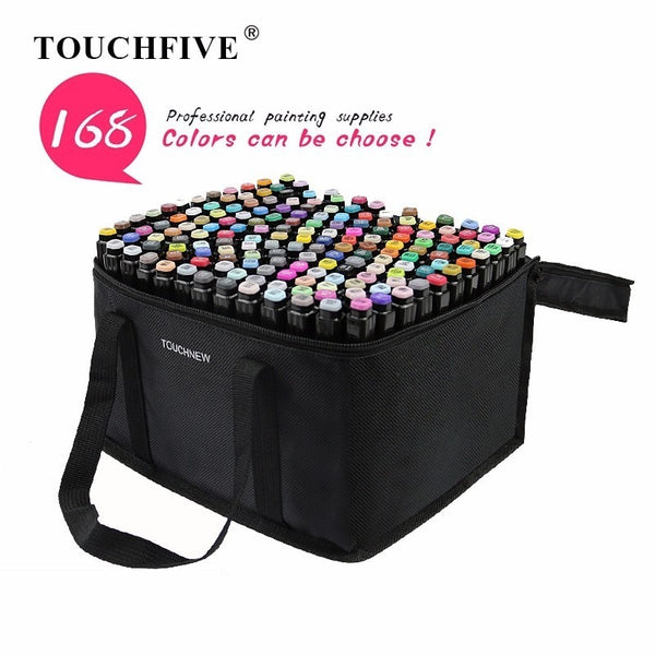 TOUCHFIVE 168 Colors Single Art Markers Dual Headed Artist Sketch Oily Alcohol based markers Pen For Anime Painting Design