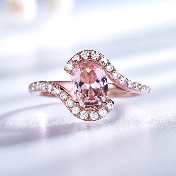 Gemstone Nano Morganite Rings for Women Rose Gold Color 585 Solid 9235 Sterling Silver Wedding Band Party Gift for Women