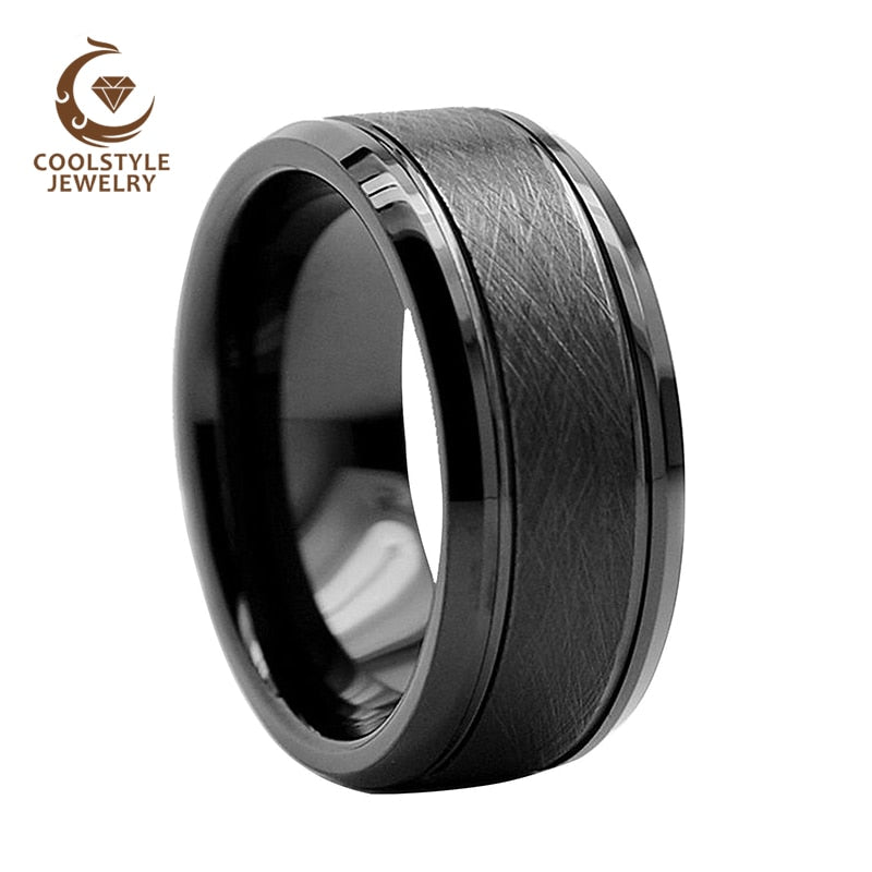 8MM Black Tungsten Carbide Ring Mens Womens Wedding Band Ring With Unique Brush Finish Comfort Fit