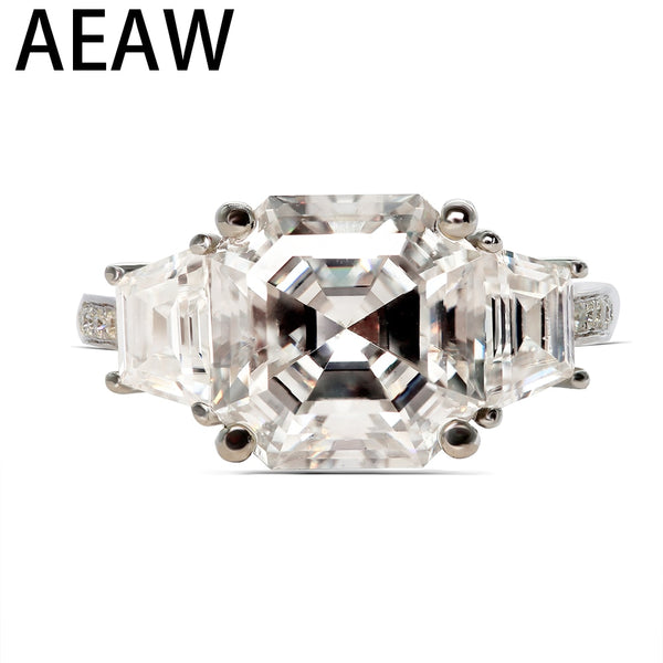 AEAW Asscher Cutting Moissantie Ring 18k White Gold Center 8.5ctw 10x10mm DF Color VVS Moissanite Engagement Ring for Women