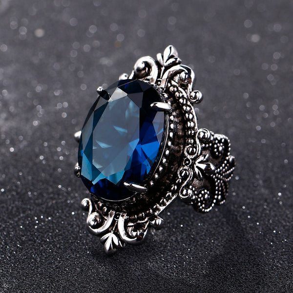 Vintage Big Oval Sapphire Gemstome Rings For Women Men 925 Sterling Silver Ring Anniversary Party Gifts