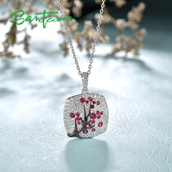 Silver Pendant For Women 925 Sterling Silver Sparkling Pink Cherry Tree CZ Delicate Fashion подвеска кулон Fine Jewelry