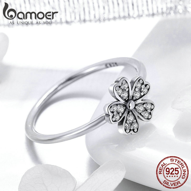 Two Colors Fashion Elegant Original 925 Sterling Silver Dazzling Daisy Flower Ring Clear CZ Wedding Jewelry SCR398