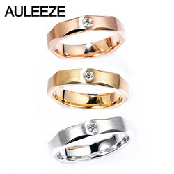 AULEEZE Real Natural Diamond Ring 18k White Gold Couple Ring Simple Brushed Male Female Ring Wedding Jewelry