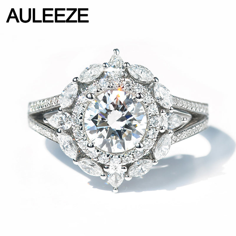 AULEEZE Luxury 1CT Moissanite Ring Real 14K White Gold Engagement Ring Cluster Setting Lab Grown Diamond Wedding Rings Women