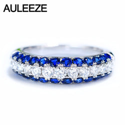 AULEEZE Real 18k White Gold 1cttw Sapphire & 0.4cttw Natural Diamond Engagement Rngs For Women Gemstone Wedding Band