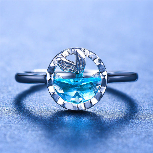 Blue Topaz Mermaid Ring Real 925 Sterling Silver Open Ring Wedding Bands Promise Engagement Rings For Women