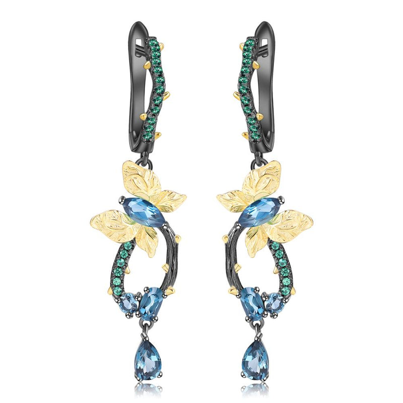 GEM'S BALLET 925 Sterling Silver Handmade Butterfly Branch Drop Earrings Classic Natural London Blue Topaz Earrings for Women