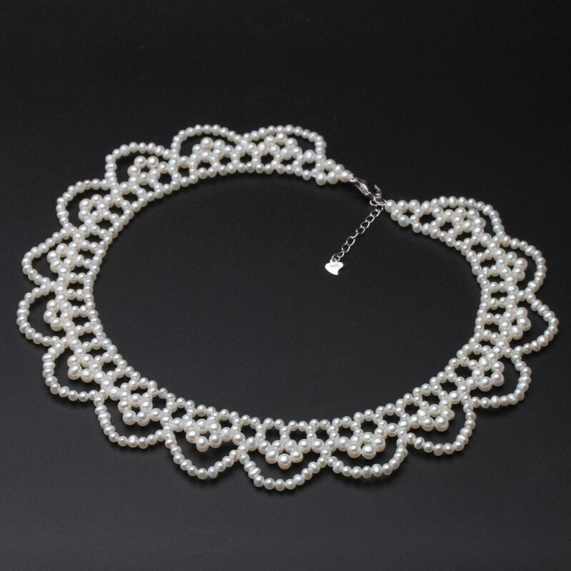 Wedding Real Natural Pearl Necklace For Women,trendy Multilayer Pearl Necklace Bridal Party Gift