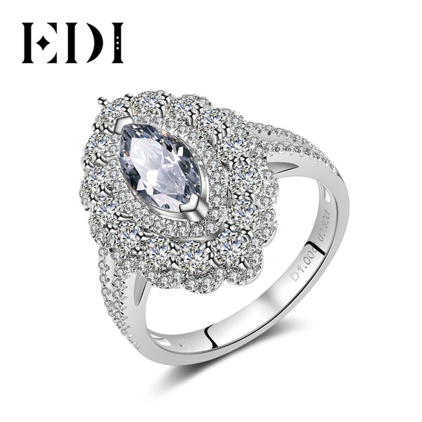 EDI Luxurious 14k 585 White Gold Moissanites Diamond 1ct Marquise Cut Ring For Women Wedding Engagement Fine Jewlery