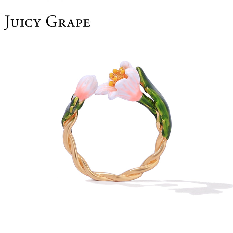 Juicy Grape index finger ring female retro small fresh cherry blossom temperament opening ring cold wind style ring