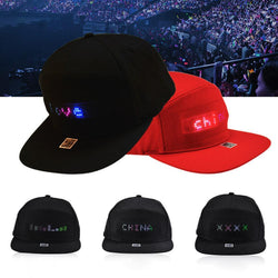 Hip Hop Hats Men Women Bluetooth LED Hat Programmable Credit Roll Message Display Board Baseball Party Golf Cap Gift