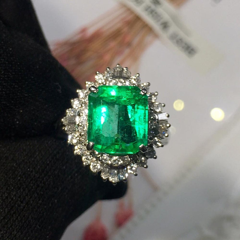 Fine Jewelry Real Pt900 Platinum Colombia Origin Green Emerald Gemstone 4.23ct 18k Gold Diamonds  Female Ring for Women Rings