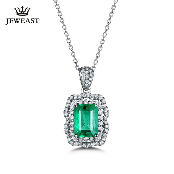 Natural emerald 18K Pure Gold Pendant Real AU 750 Solid Gold  Upscale Trendy Classic Party Fine Jewelry Hot Sell New 2020