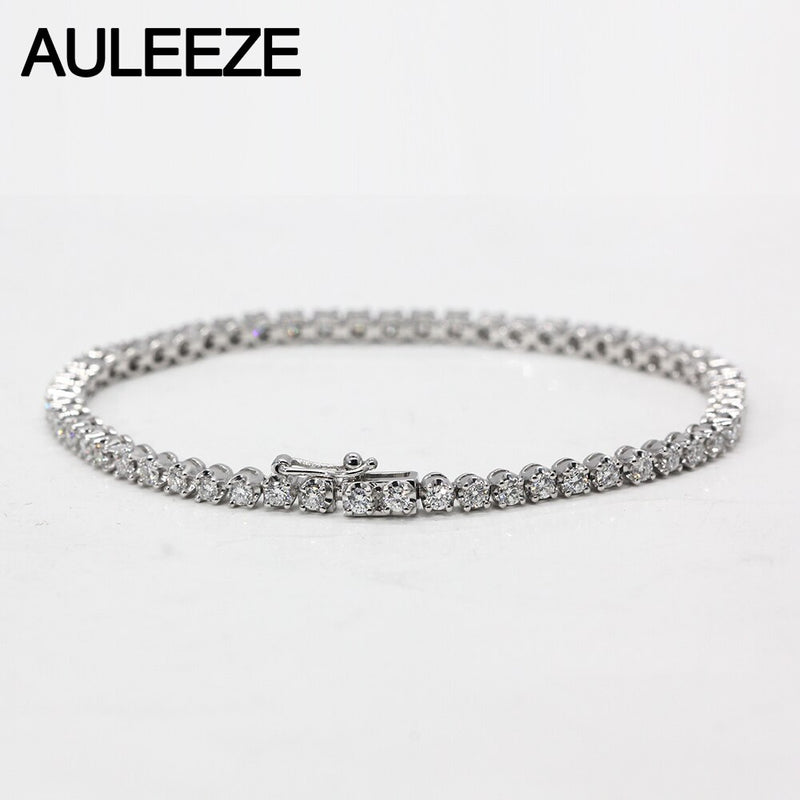 2.5CTTW Moissanite Diamond Tennis Bracelet 18K White Gold Lab Grown Diamond Bracelet Wedding Anniversary Women Fine Jewelry