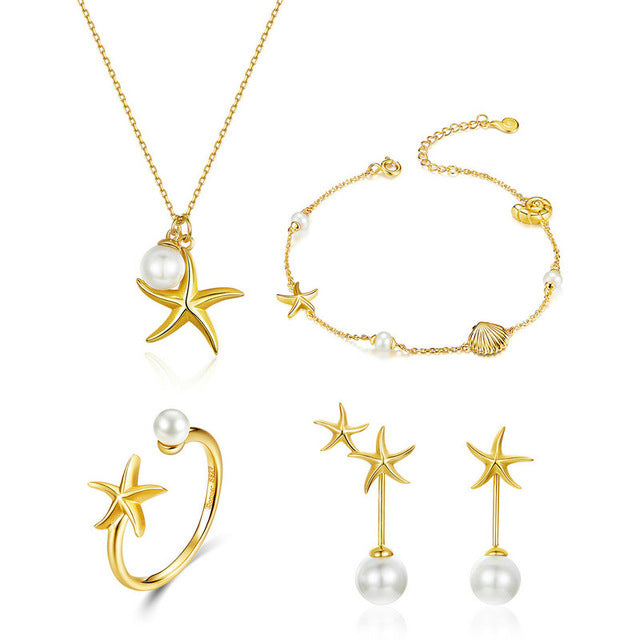 Summer Hot Sale Starfish with Pearl Jewelry Sets Gold Color Korean Style 925 Sterling Silver Fashion Jewelry ZHS154