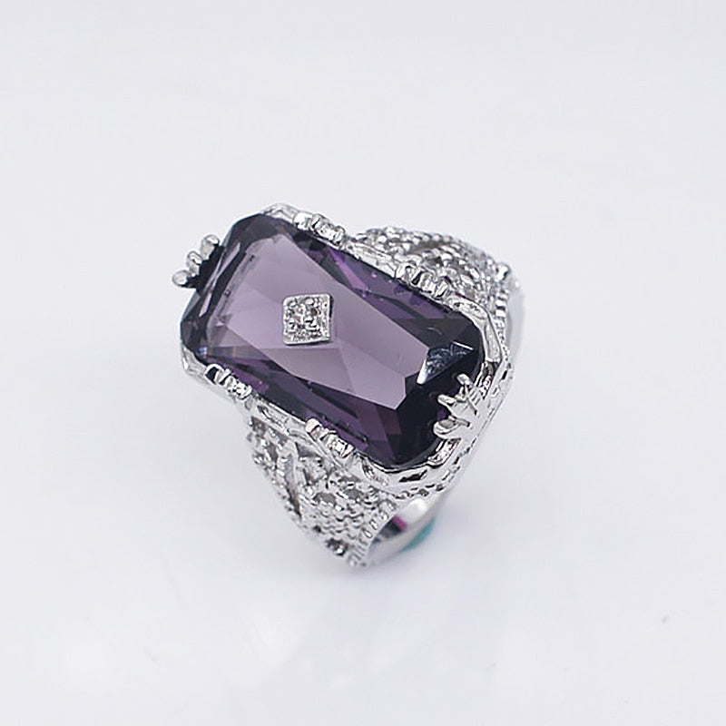 New Design Vintage Rectangle Amethyst Gemstone Rings For Women Silver 925 Jewelry Party Anniversary Fine Jewelry