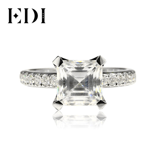 EDI Luxurious Diamond Engagement Ring 3CT Emerald Cut Moissanite 8mm Lab Grown Diamond 9K Wihte Gold Wedding Ring Band For Women