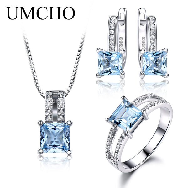 UMCHO 925 Sterling Silver Jewelry Set Nano Aquamarine Sky Blue Topaz Ring Pendant Stud Earrings Necklace For Women Fine Jewelry