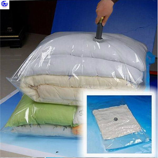 Vacuum Transparent Plastic Storage Bag Airtight Reusable Compressed Quilts Clothes Organizer Space Saving Seal garment bags pump