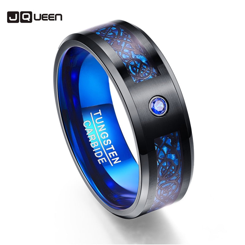 Best Favourite Carbon Fiber Exquisite Blue Zircon Tungsten Carbide Men Rings  Anillos Black Dragon pattern