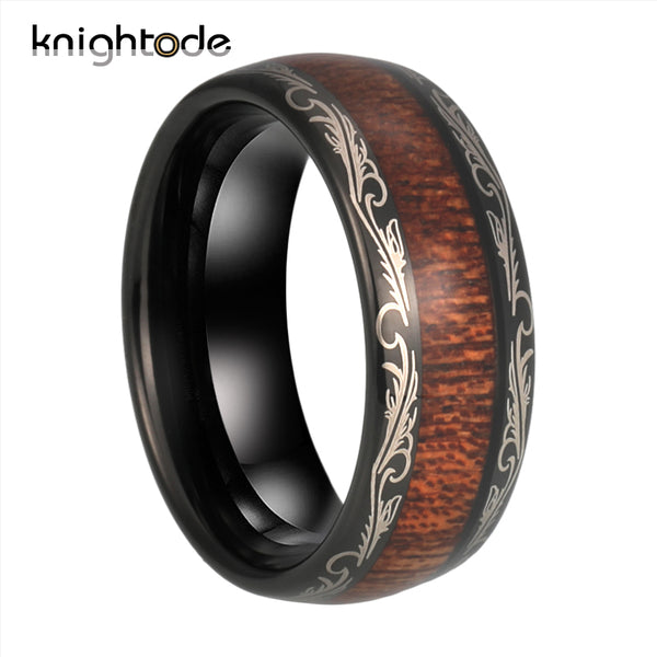 8mm Black Leaf VeinsTungsten Carbide Ring Koa Wood Inlay For Men Women Wedding Band Polished Modern Style Dome Comfort Fit