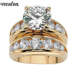 Vecalon Gold Color Solitaire Wedding Ring set 925 Sterling Silver 5A Zircon Stone Daily Engagement Band rings for women Jewelry
