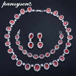 PANSYSEN European Style Ruby Emerald Sapphire Gemstone Wedding Party Jewelry Sets for Women Silver 925 Jewelry Set Fashion Gifts