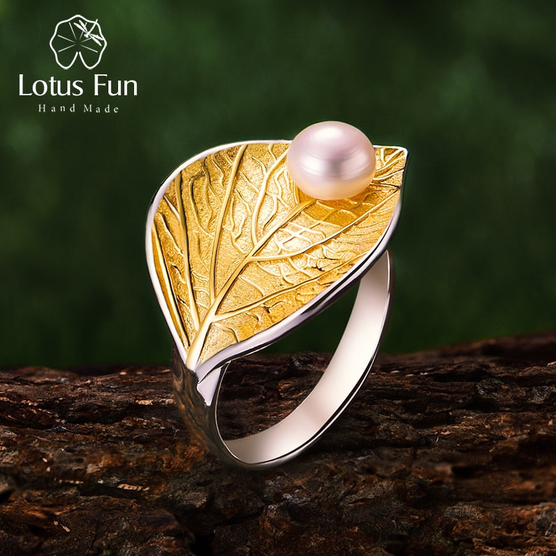 925 Sterling Silver Natural Pearl 18K Gold Leaf Ring Fine Jewelry Creative Designer Open Rings for Women Bijoux