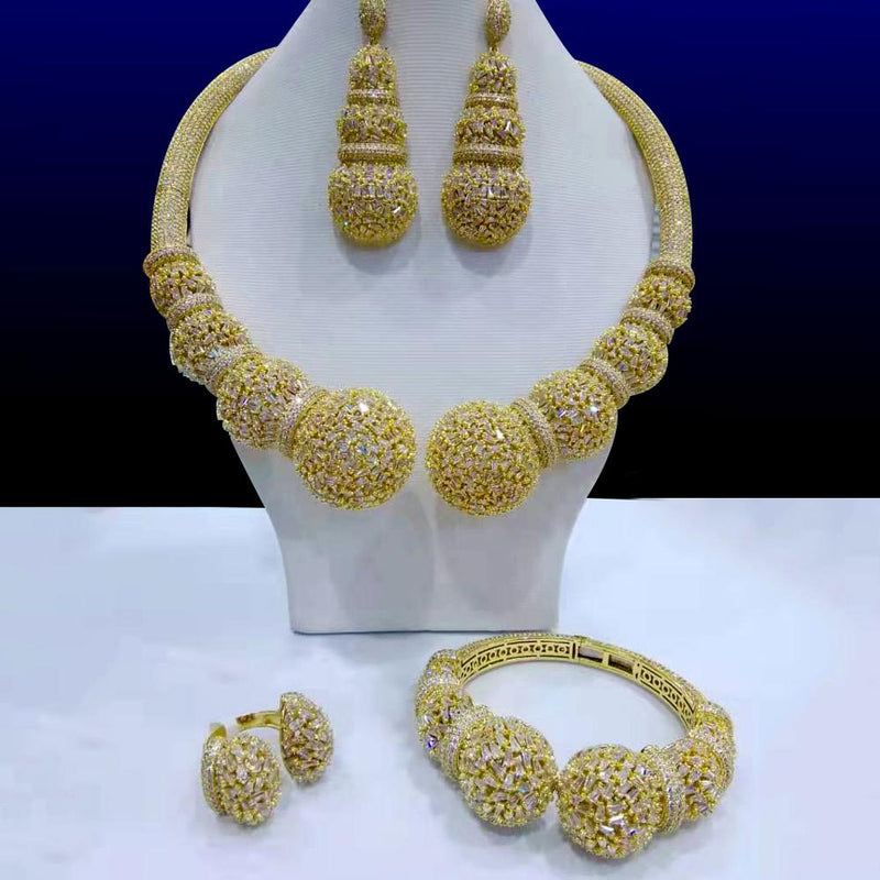 GODKI Famous Brand Disc Balls Luxury Nigerian Dubai Jewelry Sets For Women Cubic Zircon Wedding Bridal Jewelry Sets 2019