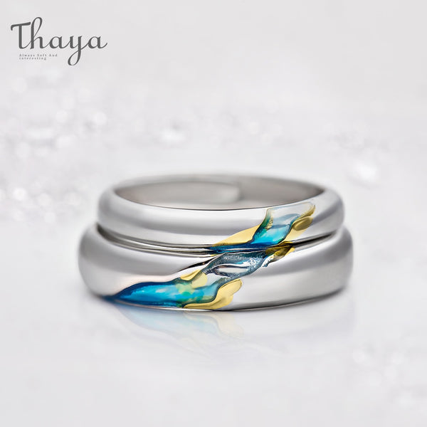 S925 Silver Couple Rings The Other Shore Starry Design Rings  for Women Men Resizable Symbol Love Wedding  Jewelry Gifts