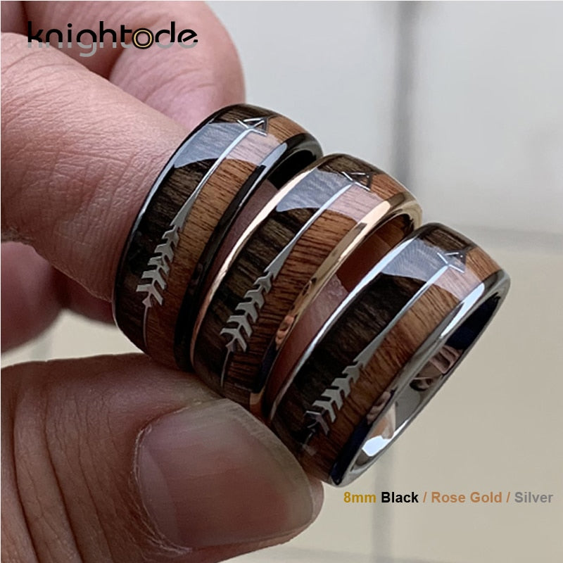 8/6mm Fashion Rose Gold Tungsten Carbide Wood Rings Women Men Classic Silver Engagement Band And Steel Arrow Inlay Black Style