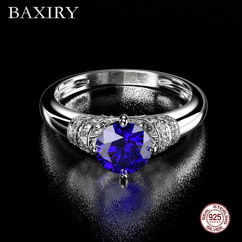 925 Sterling Silver Gemstone Ring Natural For Jewelry Blue Sapphire Ring Engagement Party