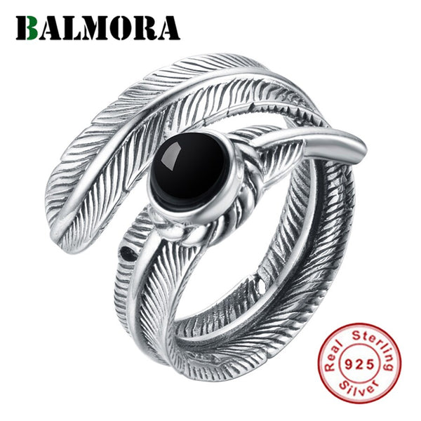 BALMORA Real 925 Sterling Silver Retro Feather Open Stacking Statement Rings for Women Men Gift Punk Cool Fashion Jewelry Bijoux