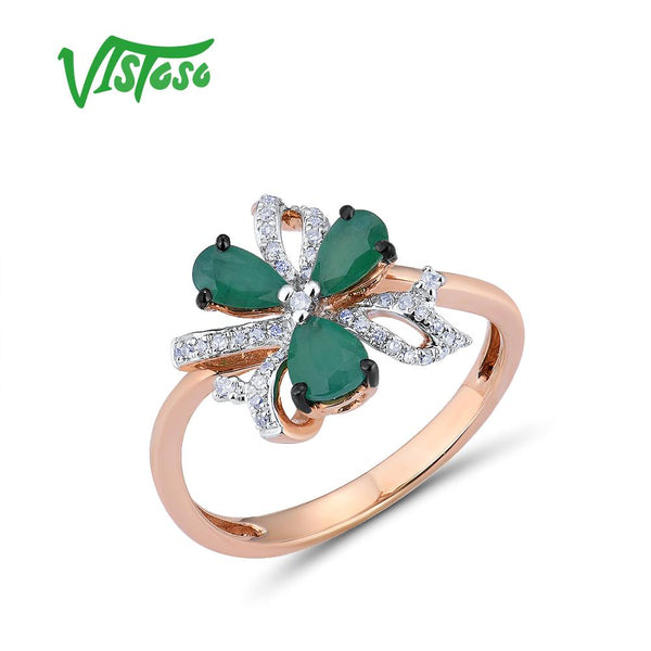 VISTOSO 14K 585 Rose Gold Ring For Women Magic Emerald Sparkling Diamond Engagement Anniversary Elegant Shining Fine Jewelry