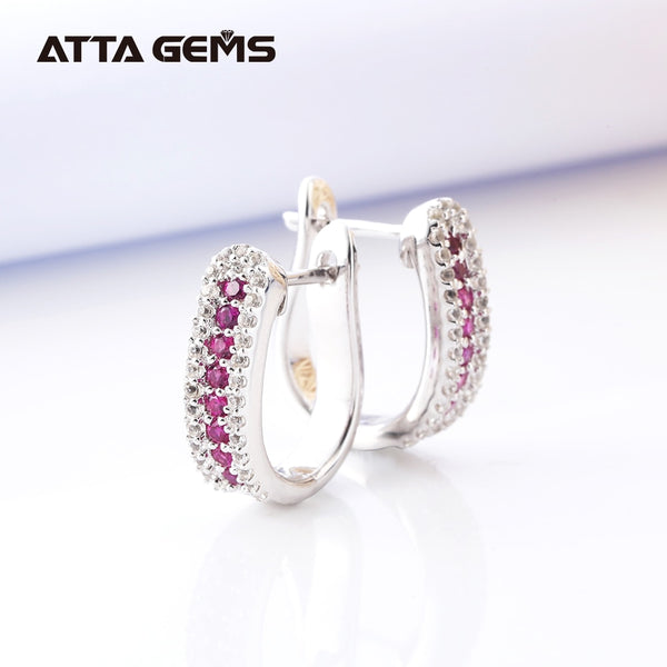 Ruby Silver Drop Earring for Women Classic Design Created Ruby Gemstone Family Members' Gifts Fine Jewelry Top Quality